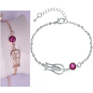 Jewelry - Silver CZ Fish Pink Crystal Charm Bracelet